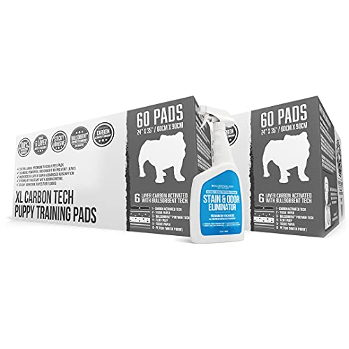 Bulldoglogy Carbon Black Puppy Pee Pads with Adhesive Sticky Tape - Extra Large Charcoal Housebreaking Dog Training Wee Pads (24x35) (2x60-Count w/32oz, Black)