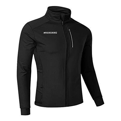 Men's Cycling Bike Jackets, Winter Thermal Windproof Softshell Coat Sports Running Bicycle Reflective Breathable Windbreaker