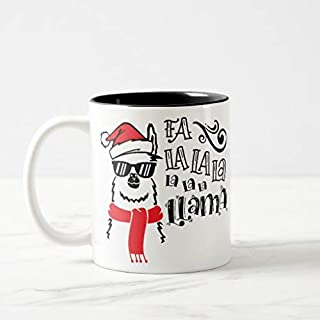 Aet3thew Fa La La La Llama Twotone Mug Funny Coffee Cup Gift for Christmas 11 oz