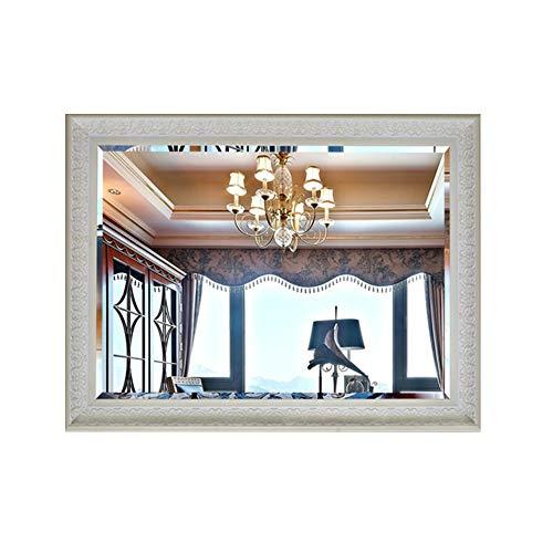Wandspiegel eenvoudige wanddecoratie wc sierspiegel cosmeticaspiegel wastafel spiegel zilveren spiegel wandspiegel in Europese stijl grote spiegel 50 * 70cm beige
