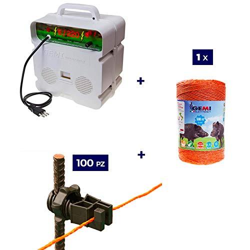 Kit complet pour clôture électrique clôture électrifiée pour animaux Chevaux Chiens Vaches Poules: 1x ELECTRIFICATEUR 220V + 1 x Fil 500 MT 6 Mm² + 100 pcs Isolateur Pour Piquets En Fer
