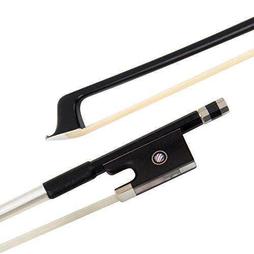Kmise Violin Bow Stunning Fiddle Bow Carbon Fiber for Violins (4/4, Black)
