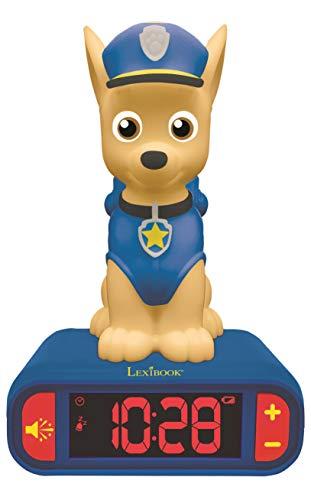 LEXIBOOK integrada-RL800PA Chase, Patrulla Canina Reloj Despertador Pantalla LCD Digital y luz de Noche integrada, quitamiedos niño-RL800PA, Color Azul