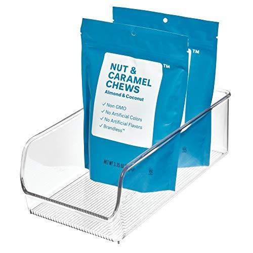 iDesign Caja transparente apilable, organizador de cocina mediano de plástico, caja organizadora sin tapa para los armarios o el frigorífico, transparente