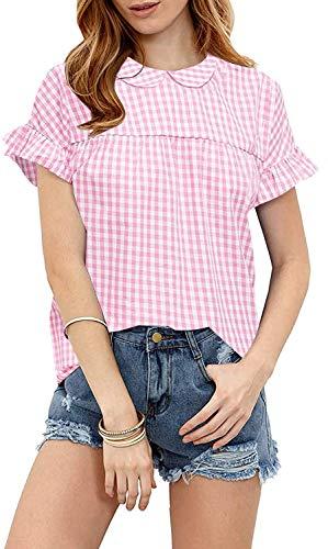 SheIn Women's Peter Pan Collar Blouse Short Ruffle Sleeve Babydoll Shirt Top Large Pink