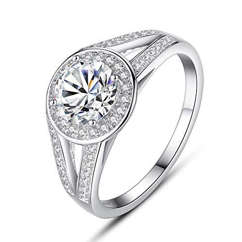 Yipianyun Damen-Ring Verlobungsring Silber 925 Eingelegter Zirkonia Ring Mehrere Größenoptionen Persönlichkeit Temperament Schmuck Geschenk Für Frauen,Silber