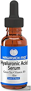 HAWRYCH MD Hyaluronic Acid Serum The Best Anti Aging Serum Deeply Hydrates, Plumps Skin Diminishes Lines and Wrinkles with Vitamin B5, Aloe, Green Tea (1 oz)
