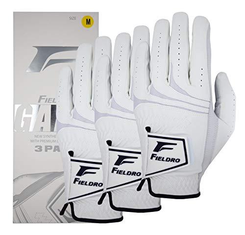 FIELDRO Men's Golf Gloves 3 Pack Cabretta Leather MAXSKIN Left Hand Right Hand (Medium/Large, Right)