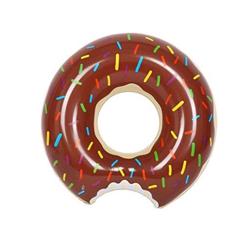 Licht Schwimmbad Floating Bett Donut Schwimmen Ring 120cm Erwachsene Übergroße dicke aufblasbare Rettungsring Schwimmring Kaffee Rosa Luftbetten & Schlauchbaum (Farbe: Rosa, Größe: 85cm / 28cm)