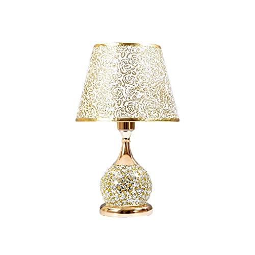 Lámparas de Mesa y mesilla de Noche Lámpara de Mesa romántica, lámpara de Noche Vintage con Cuerpo de Cristal, lámpara de mesita de Noche Luz de Cama para Cama para Dormitorio. Lámparas de Escritorio
