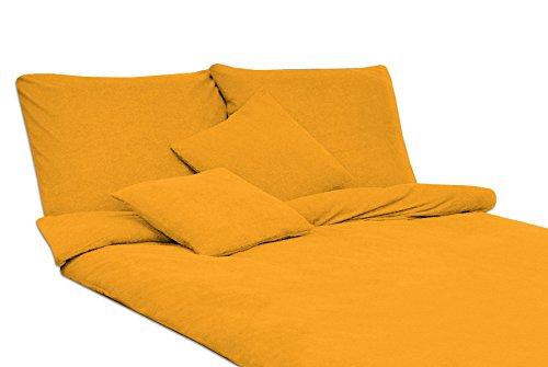 MODHAUS Bettwäsche Set Frottee einfarbig schöne Farben viele Größen / 2.Anzeige (gelb, 135x200+1x80x80)