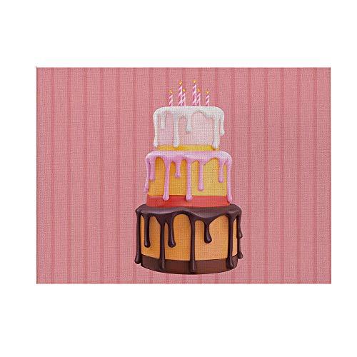 Salvamanteles Juego de 4,Manteles Individuales de Mesa Lavable Antimanchas Antideslizante Resistente Al Calor Pastel de cumpleaños 32 cm X 42 cm (Lino poliéster Impermeable