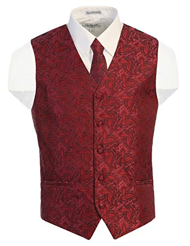Gioberti Men's Formal 4pc Paisley Vest Necktie Bowtie and Pocket Square, Burgundy, X Large
