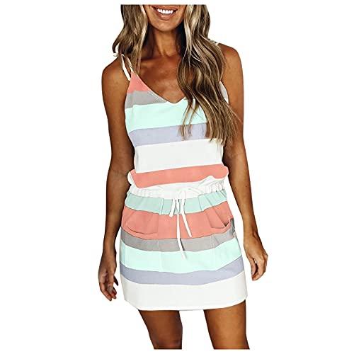 Zieglen Womens V Neck Sleeveless Stripe Spaghetti Dress Casual Splicing Sling Strap Dress with Belt Summer Dresses for Women Mint Green
