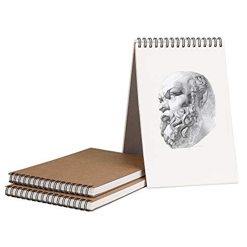 Bloc de Dibujo A5 Cuaderno Papel Texturizado, Bocetos y Dibujos Artistas para Niños Principiantes, para Acuarela, Pintura Acrílica y al Óleo - 160g/m² 30 Hojas (3 Pack)