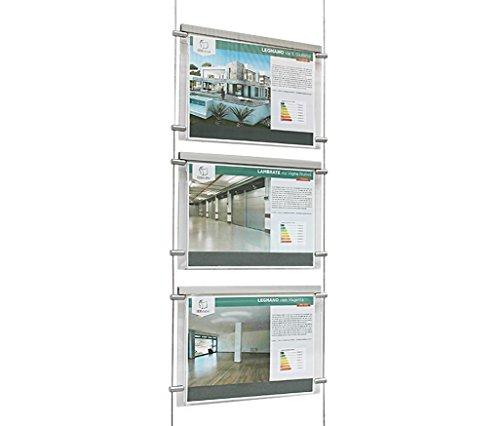 Espositore a cavetti luminoso monofacciale da vetrina, EVO LED KIT 1x3, con 3 cartelle in plexiglass formato A4 orizzontale, porta annunci per agenzie immobiliari, studi fotografici, ecc.