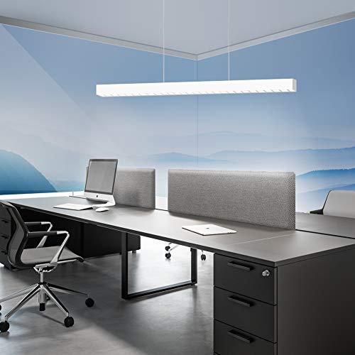 OOWOLF LED Pendelleuchte Büro,LED Hängeleuchte 40W 3000LM 6000K kaltweiß 120cm,Pendelleuchte Büro höhenverstellbar für Büro Arbeitszimmer Esszimmer Supermarkt Lager Garage[Energieklasse A++]