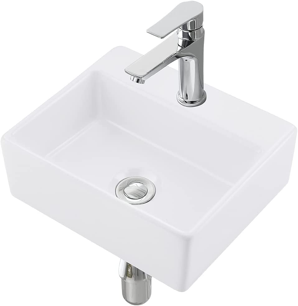 VASOYO Small Wall Mount Corner Dealing full price Challenge the lowest price of Japan ☆ reduction Rectan White Vessel Sink Bathroom