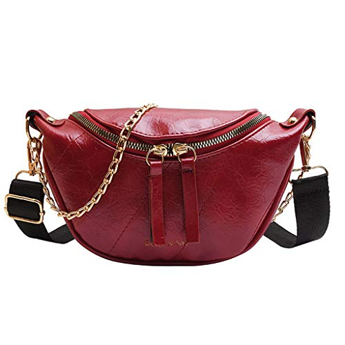 ErYao Fashion Leather Waist Fanny Pack Chest Bag Phone Purse with Metal Chain for Women Black Belt Bag Pouch Hip Bum Bag Chest Sling Bag with Adjustable Strap (Red)