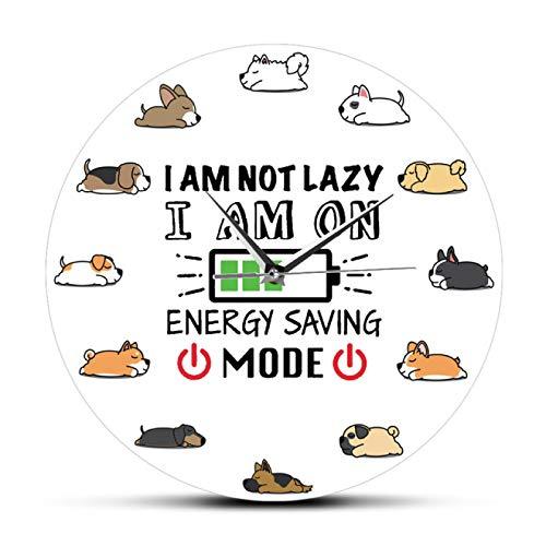 Reloj de pared Sleeping Lazy Dog Reloj de pared de dibujos animados Sleepy Puppy Dogs Lazy Day Modo de ahorro de energía Arte de la pared Cachorros Decoración del hogar Reloj de pared silencioso