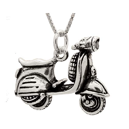 "B and S Jewelry Sterling Silver Vespa Style Scooter Movable Pendant 3 Dimensional with 20"" Box Chain"