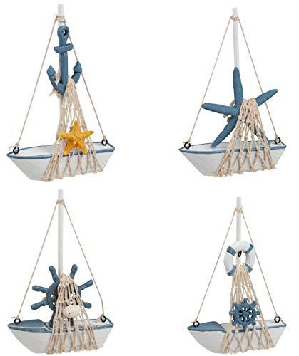 Juvalelgs Mini Sailboat Modelo Decoración - Set de 4 Piezas de Madera Vela Barco decoración del hogar, Playa náutica, Azul Marino y Blanco, 4,4 x 6,8 x 1,25 Pulgadas