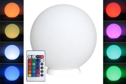 LED Kugelleuchte mit integrierten Akku, 50cm Kugel-Dekolampe mit Farbwechsel Fernbedienung für innen & außen - spritzwassergeschützt nach IP54 kabellose Gartenbeleuchtung - hängend & stehend - 42 Helligkeitsstufen