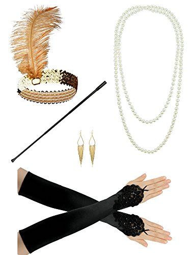 1920er Jahre Zubehör Stirnband Flapper Kopfschmuck Perlenkette Handschuhe Lady Charleston Kostüm Set