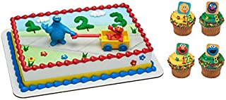 Elmo and Cookie Monster Cake Topper with 24 Big Bird, Elmo, Grover and Cookie Monster Cupcake Rings and 24 Assorted Colore...