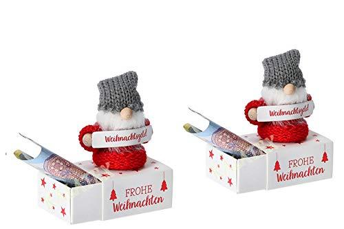 KAMACA 2er Set Geschenkschachtel für Geldgeschenke kleine Geschenke Präsente Geschenkverpackung Geld Gutschein Weihnachten (2er Set Geldgeschenkbox WICHTEL)