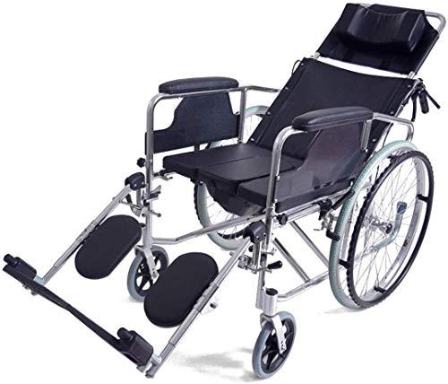 Rollstuhl-Gehhilfsmittel Rollstuhl 170 ° voll Verstellbarer Rollstuhl, Leichter Faltbarer Aluminiumrahmen, selbstfahrender Rollstuhl mit Töpfchen und Handbremse, bequemes Kissen,