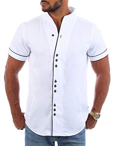 CARISMA Herren Uni Kurzarm Stehkragen Hemd Freizeit Casual einfarbig Basic Shirt körperbetont 9118/9119, Grösse:XL, Farbe:Weiß/Schwarz