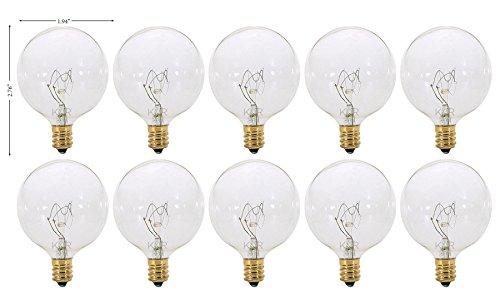 (Pack of 10) G16.5 Decorative (E12) Candelabra Base Globe Shape 120V G16 1/2 Light Bulbs (Clear, 25 Watt)