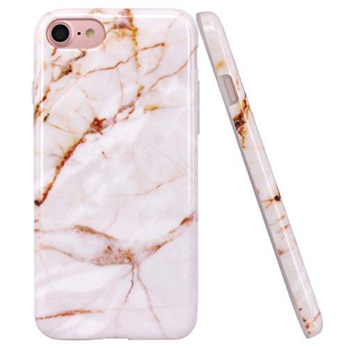 JIAXIUFEN TPU Gel Silicone Protettivo Skin Custodia Protettiva Shell Case Cover Per Apple iPhone 7/iPhone 8 - Bianco Oro Marmo Design