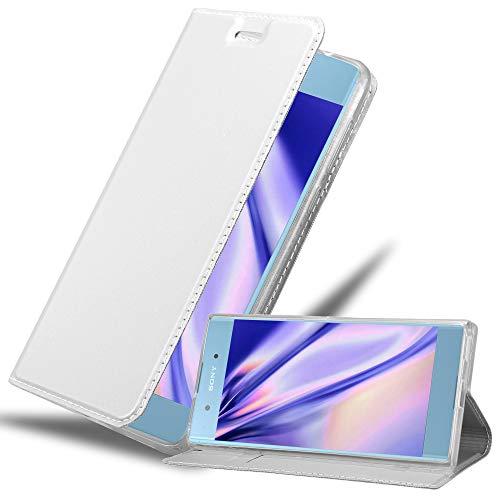 Cadorabo Hülle für Sony Xperia XA1 Plus in Classy Silber - Handyhülle mit Magnetverschluss, Standfunktion & Kartenfach - Hülle Cover Schutzhülle Etui Tasche Book Klapp Style