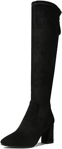 YUBIN Au-Dessus du Genou Bottes pour Femmes, Bottes à Talons Femmes, Bottes Hautes en Velours épais (Couleur   Noir, Taille   EU 39 US 7 UK 6 JP 24.5cm)
