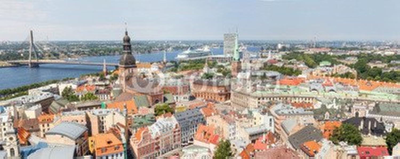 Leinwand-Bild 180 x 70 cm   Aerial View of Riga , Bild auf Leinwand