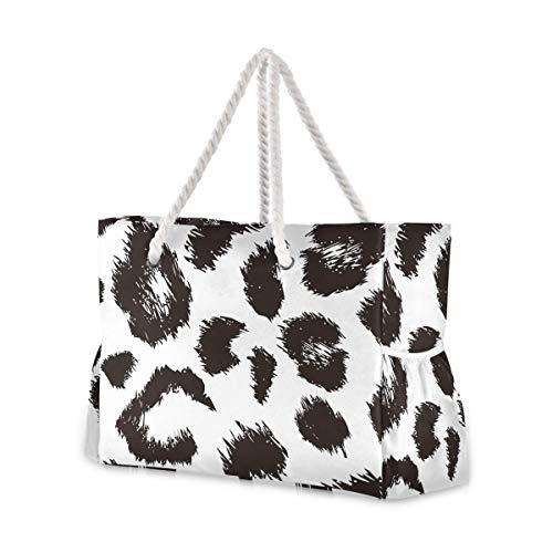 Bolsas de playa grandes Totes de lona Bolsa de hombro Patrón de leopardo Resistente al agua Bolsas para gimnasio Viajes Diarios