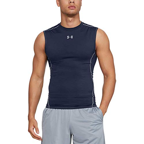Under Armour, Ua Hg Armour Sl, Canottiera, Uomo, Blu (Midnight Navy/Steel 410), M