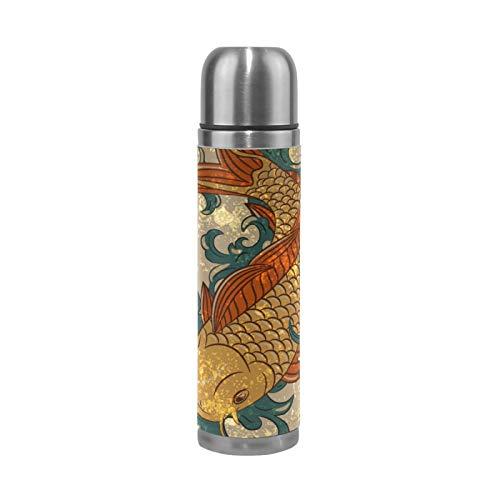 RELEESSS Vakuum-Thermoskannen, japanischer Koi-Fisch, Edelstahl-Reisebecher, Isolierbecher, Wasserflasche für heiße und kalte Getränke, 500 ml