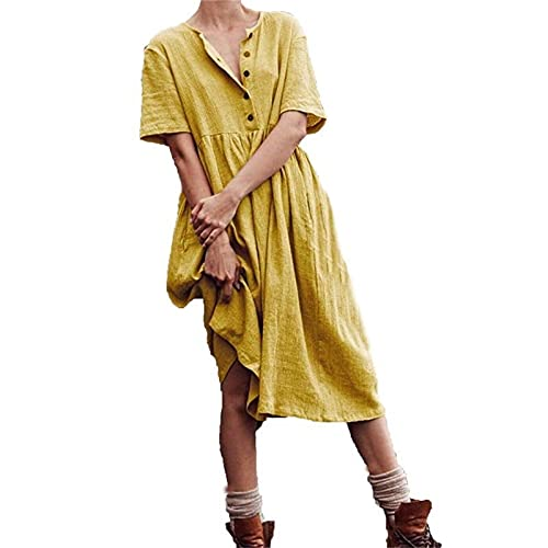 Women's Summer Casual Short Sleeve Button Down Cotton Linen Midi Dress Solid...