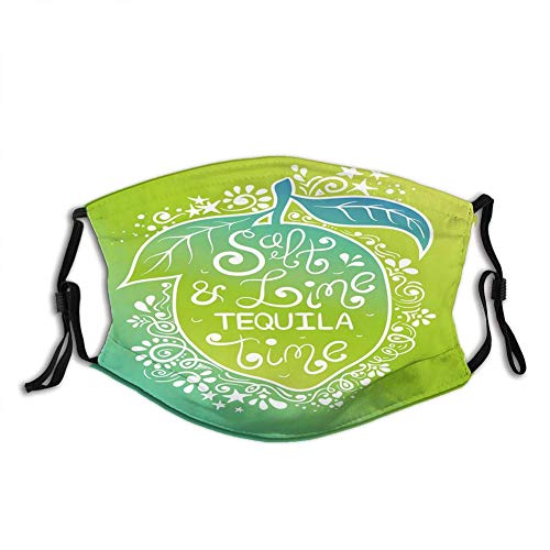Fashion?Comfortable?Windproof?mask, Green Tones Vibrant Ombre Design Salt Lime And Tequila Lettering On Flourish Lemon,Printed?Facial?decorations?for?unisex