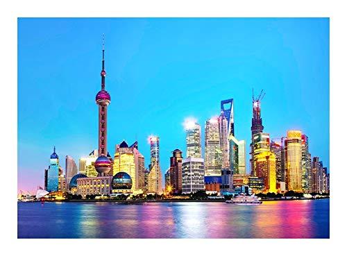 Puzzle World Famous Tourist Attraction Schöne Shanghai Nachtszene - 300/500/1000 Stück Jedes Stück ist EIN Unikat, passt Alles zusammen Perfekt (Umweltfreundliche Dekorative Malerei)