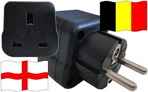 Steckdosenadapter für Belgien - Steckeradapter England mit Schutzkontakt Reise Stecker