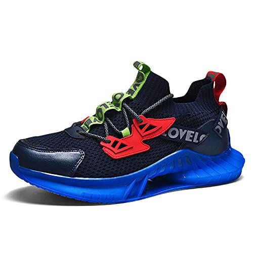 BAIDEFENG Zapatos Suaves de Alta Elasticidad,Zapatillas de Deporte de Malla con Suela de Aire para Hombre de Moda, Zapatillas de Deporte de Alta Elasticidad y Secado rápido-Azul_41