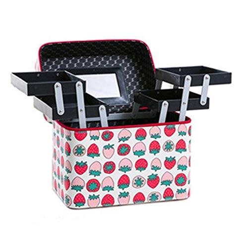 Kosmetische Aufbewahrungsbox, tragbares Doppelschicht-Tablett Reisezubehör Einfache kosmetische Aufbewahrungsbox Großraum-Aufbewahrungsbox Multifunktionsdruck Langlebig,1