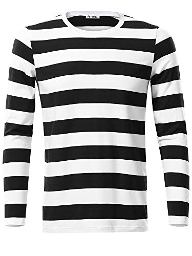 VETIOR Men's Black White Striped Shirt Casual Round Neck Long Sleeve Comfy Cotton