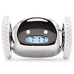 Clocky Alarm Clock on Wheels (Original) | Extra Loud for Heavy Sleeper (Adult or Kid Bed-Room Robot Clockie) Funny, Rolling, Run-away, Moving, Jumping  (Chrome)