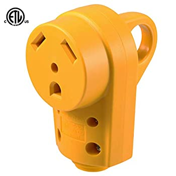 Kohree RV Female Plug Replacement 30 Amp RV Receptacle Plug 125/250V Heavy Duty Camper Plug with Ergonomic Grip Handle Yellow