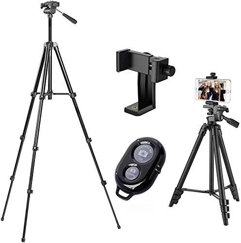 Handy Stativ,Stativ Smartphone,iPhone Stativ mit Handy Halterung und Bluetooth Fernbedienung Kamera Stativ für iPhone Samsung und Kamera …